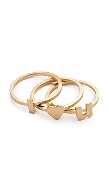 Jennifer Zeuner Jewelry I Heart U Ring Set