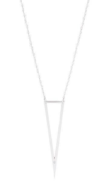 Jennifer Zeuner Jewelry Nava Triangle Pendant Necklace with Diamond