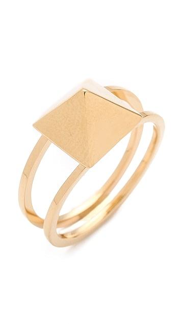 Jennifer Zeuner Jewelry Double Band Square Stud Ring