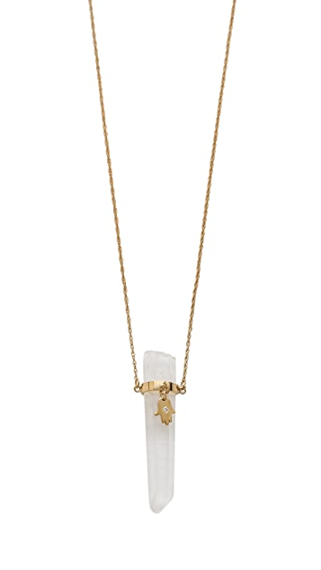 Jennifer Zeuner Jewelry Quartz Integrated Diamond Necklace