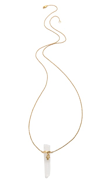 Jennifer Zeuner Jewelry Quartz Integrated Diamond Necklace