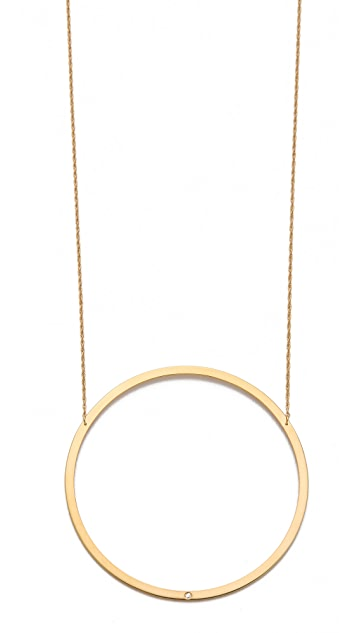 Jennifer Zeuner Jewelry Large Circle Diamond Pendant Necklace