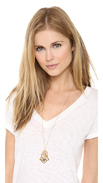 Jennifer Zeuner Jewelry Good Luck Hamsa Diamond Necklace