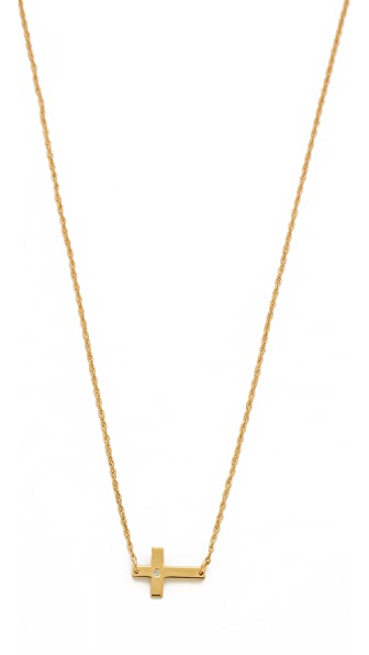 Jennifer Zeuner Jewelry Theresa Mini Diamond Cross Necklace