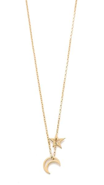 Jennifer Zeuner Jewelry Open Moon & Star Necklace