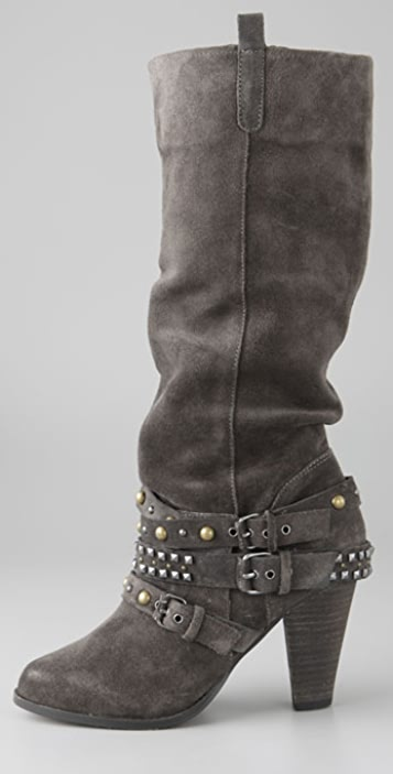 ZiGiNY Cassie Suede Boots with Studded Ankle Strap