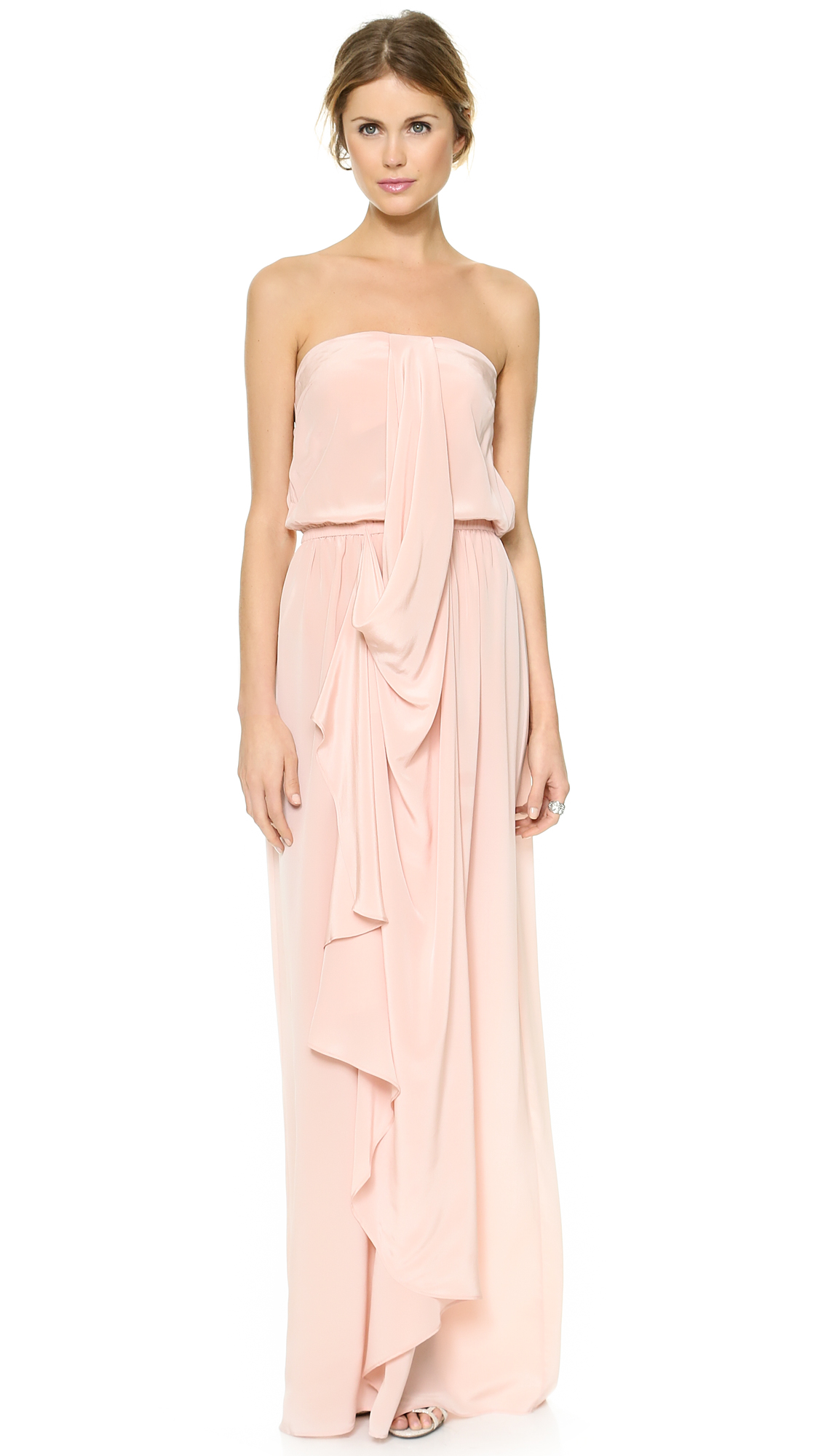 Zimmermann Strapless Draped Maxi Dress In Rosewater