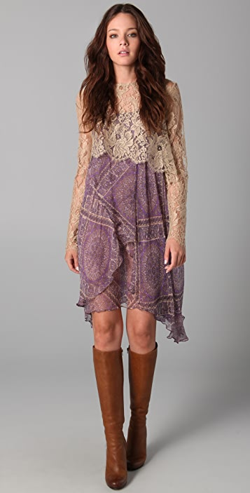 Zimmermann Paisley Dress with Lace Top