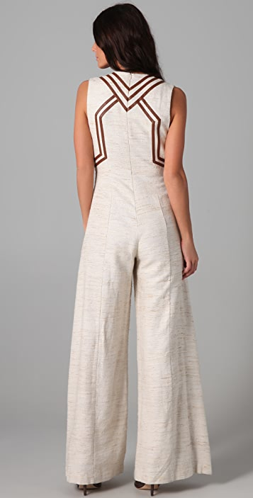 Zimmermann Calm Jumpsuit with Leather Trim