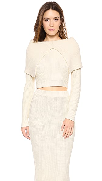 Zimmermann Tempo Rib Knit Crop Sweater