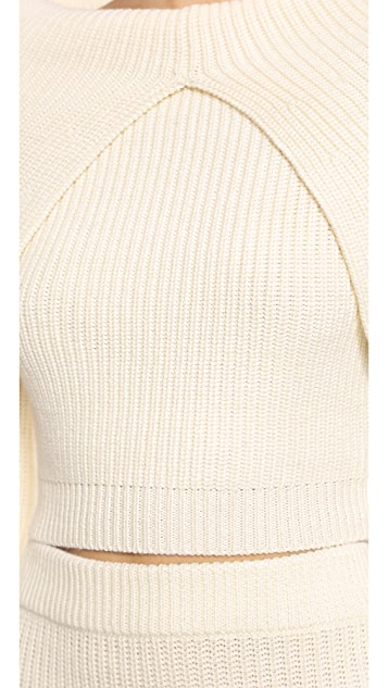 Zimmermann Tempo Rib Knit Crop Sweater