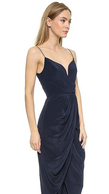 Zimmermann Silk Plunge Drape Long Dress