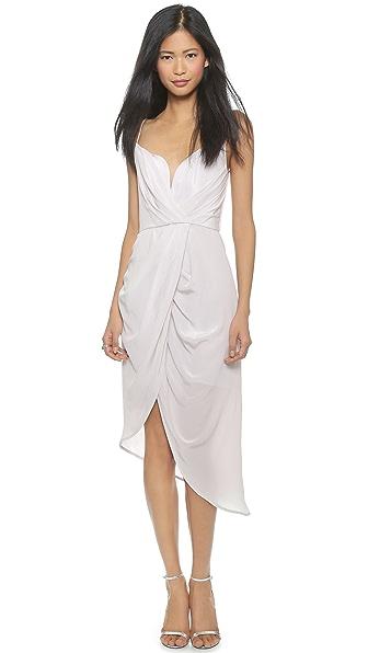 Shop Zimmermann online and buy Zimmermann Silk Plunge Drape Dress Moonstone dresses online