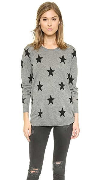 Zoe Karssen Loose Fit Straight Stars Sweater In Grey Heather