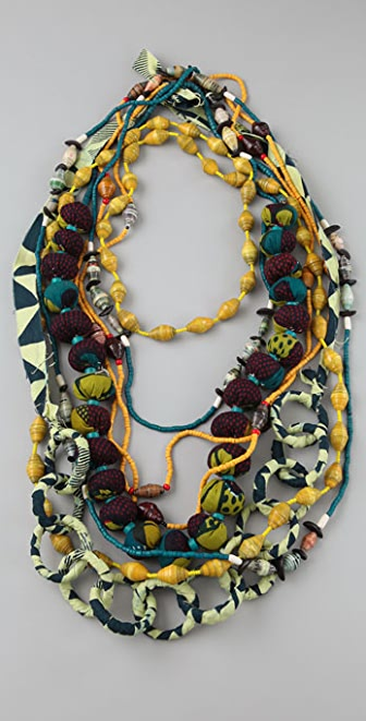 ZUBA Africa Yellow & Indigo Bead Necklace Set