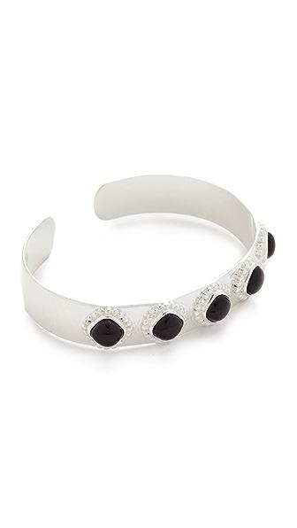 Aaryah Aaliya Five Stone Cuff Bracelet - Silver/Onyx