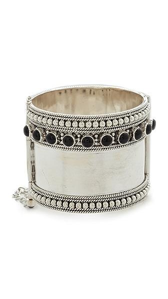 Aaryah Kajal Cuff Bracelet - Silver/Onyx