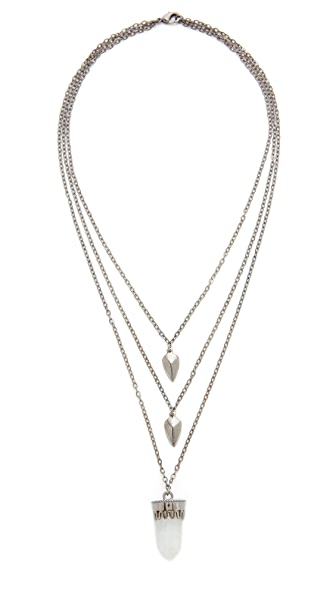 Aaryah Humi Drop Necklace - Moonstone/Gunmetal