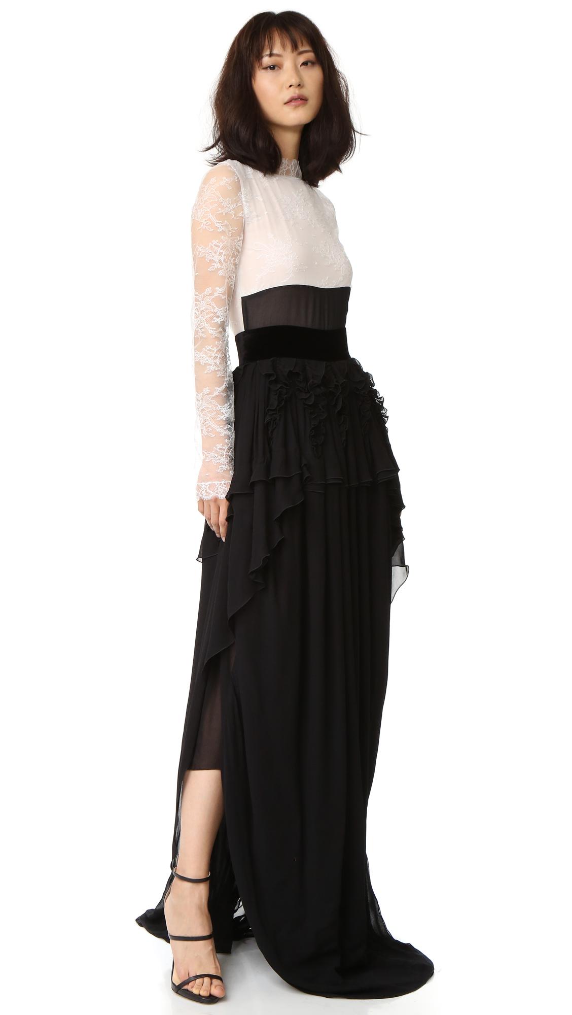 Antonio Berardi Long Sleeve Gown - Black/White at Shopbop