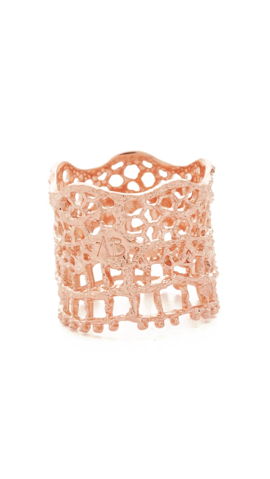 Aurelie Bidermann Vintage Lace Ring - Rose Gold at Shopbop