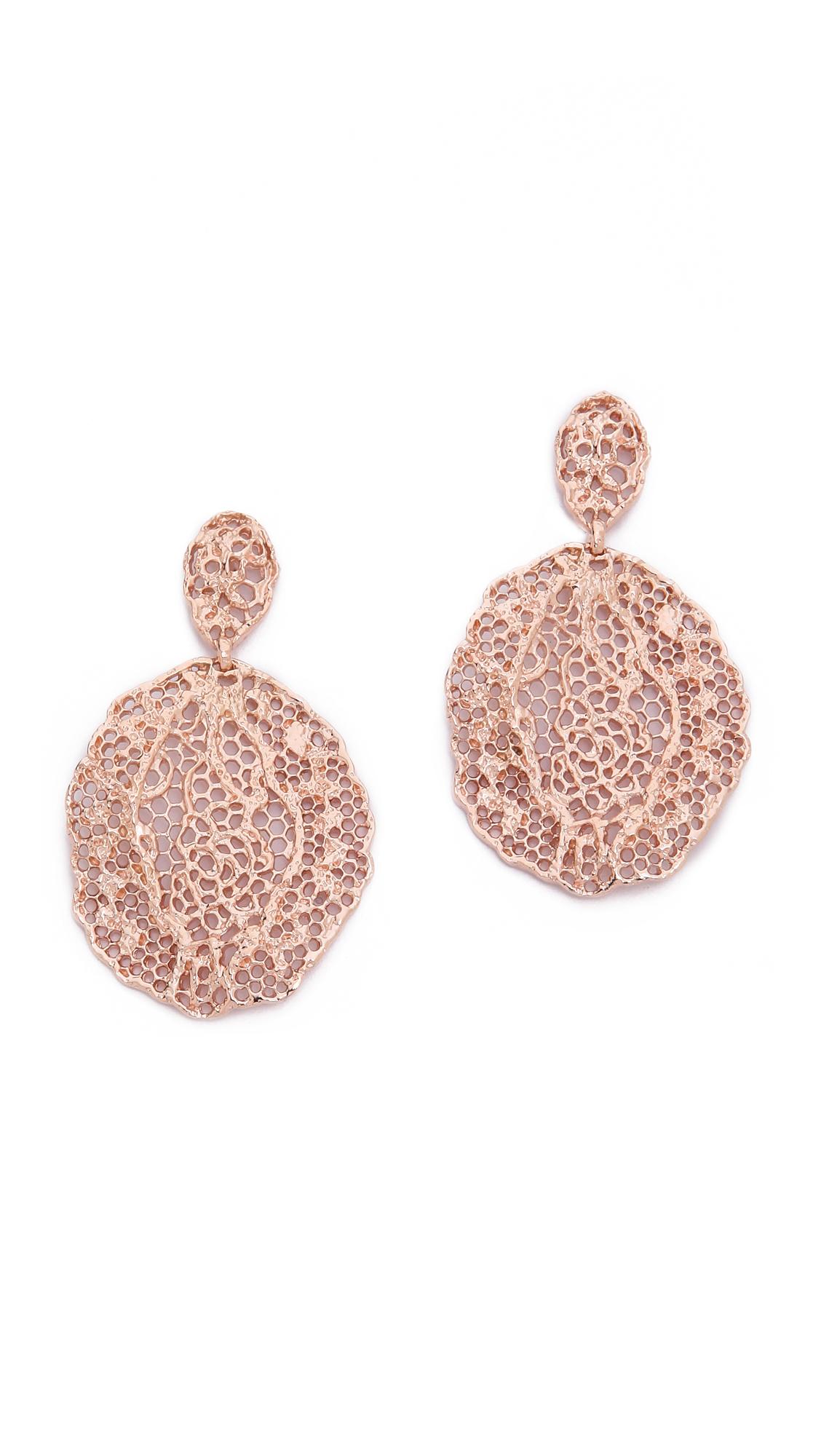 Aurelie Bidermann Lace Earrings - Rose Gold at Shopbop