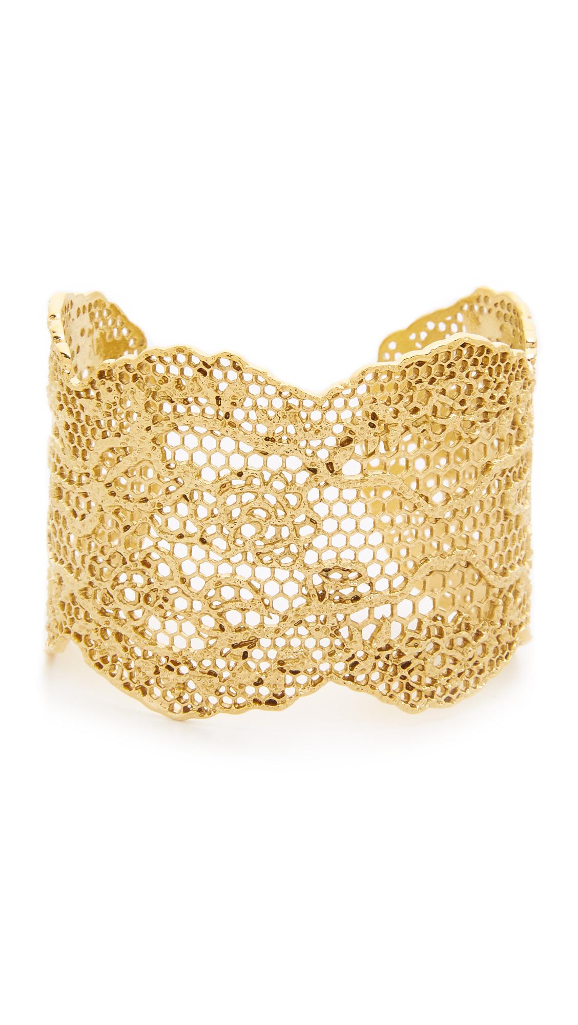 Aurelie Bidermann Laser Cut Vintage Lace Cuff - Gold at Shopbop