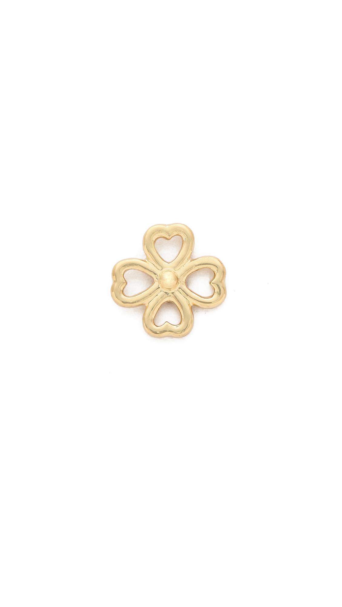 Aurelie Bidermann Mini Clover Stud Earring - Gold at Shopbop