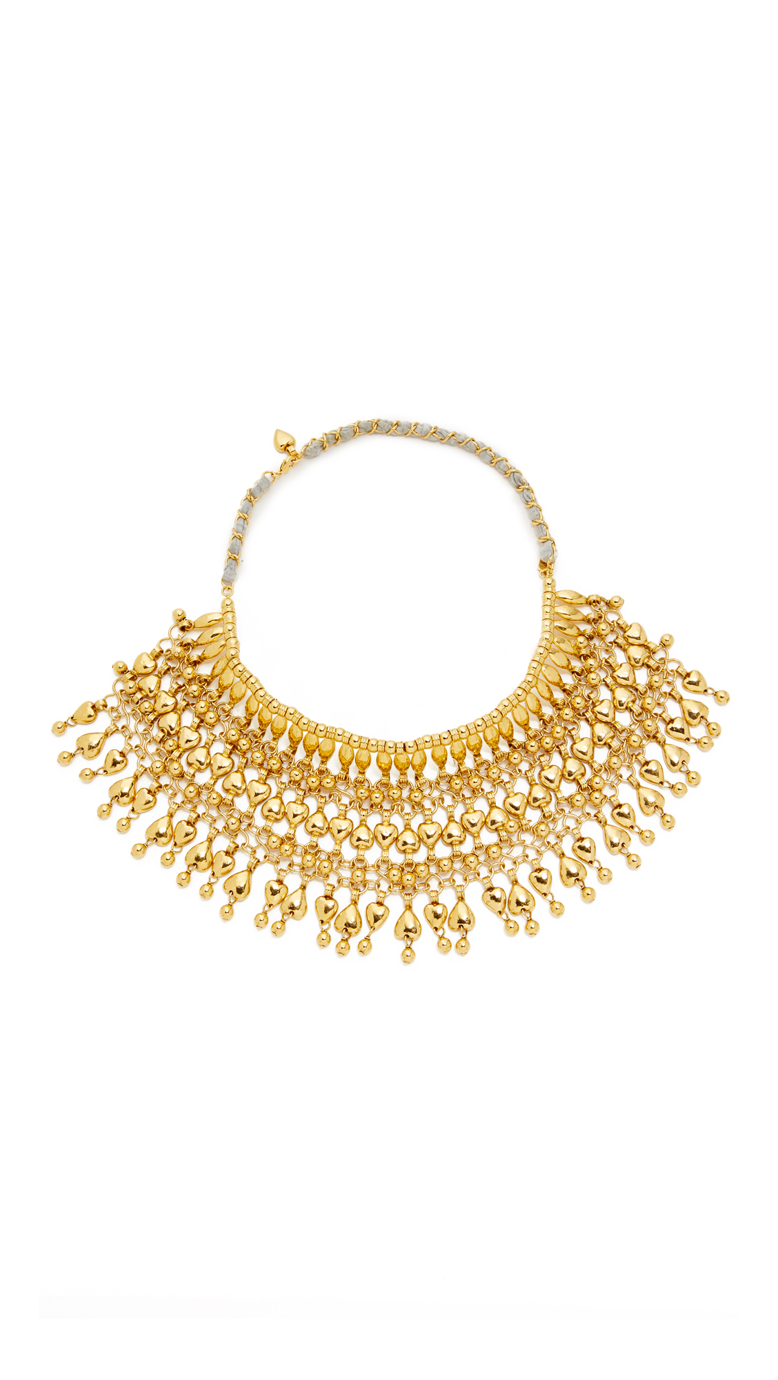 Aurelie Bidermann Heart Beaded Bib Necklace - Gold