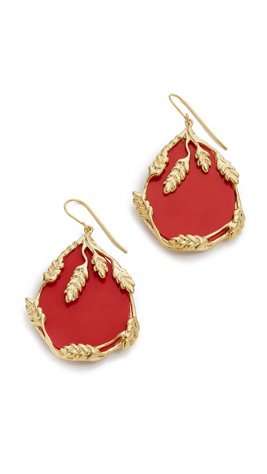 Aurelie Bidermann Francoise Earrings - Red/Gold at Shopbop