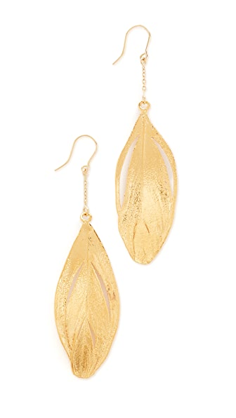 Aurelie Bidermann Swan Feather Dipped in Gold Earrings