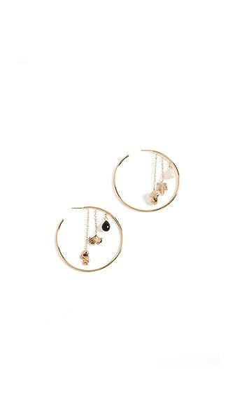 Aurelie Bidermann Barbizon Hoop Earrings In Black/Gold/Pearl