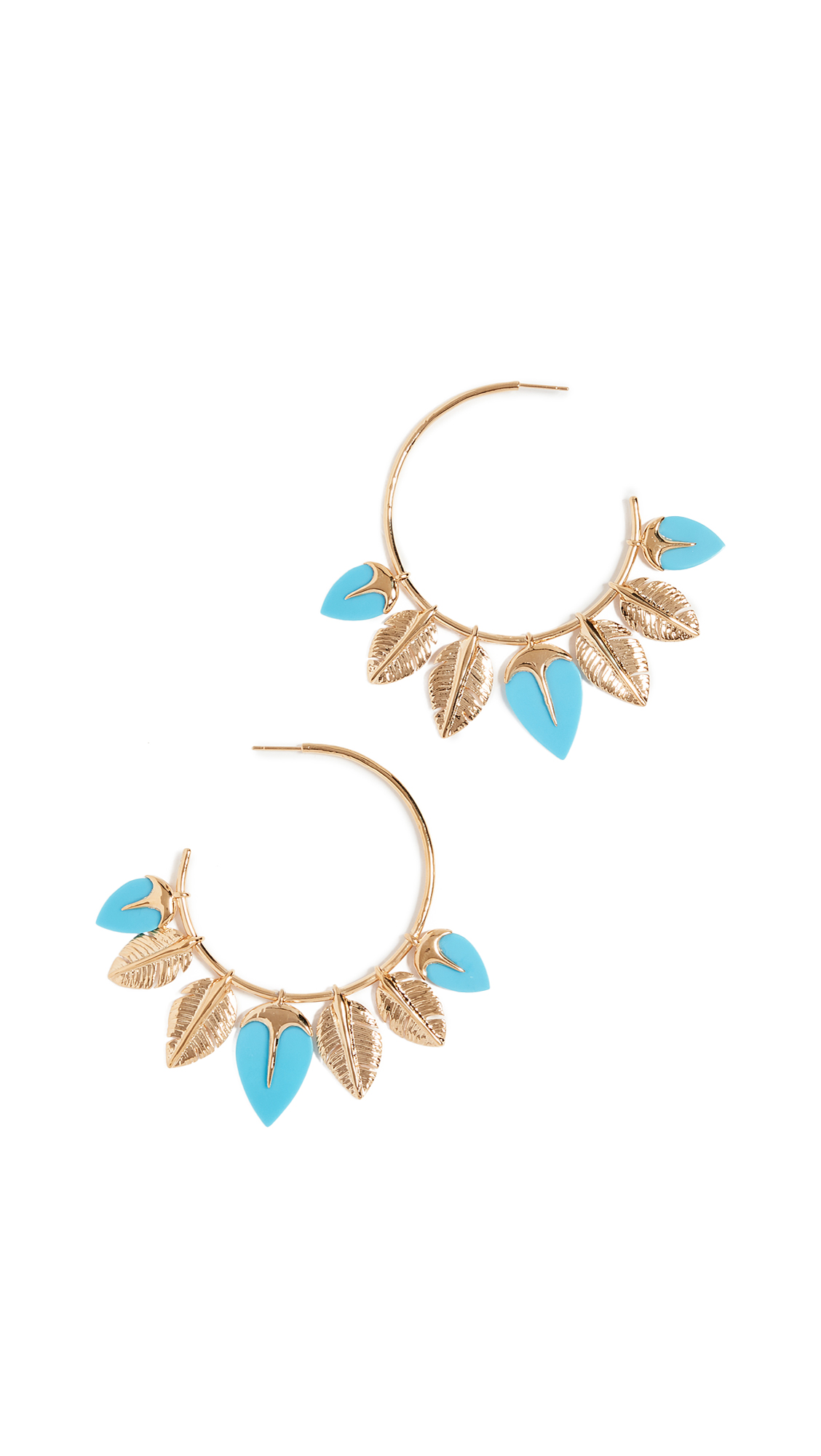 Aurélie Bidermann Thalitha Hoop Earrings in Turquoise and 18K Gold-Plated Brass cPlRP