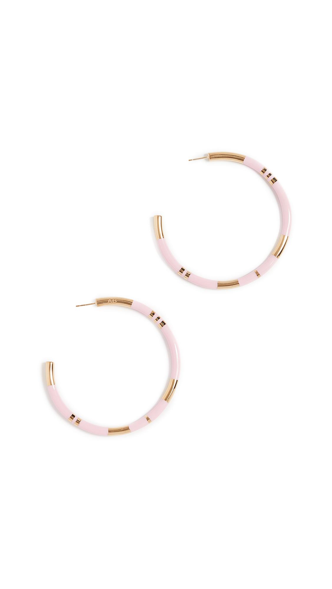 Aurélie Bidermann Positano Large Hoop Earrings in Baby Pink 18K Gold-Plated Brass NbA06