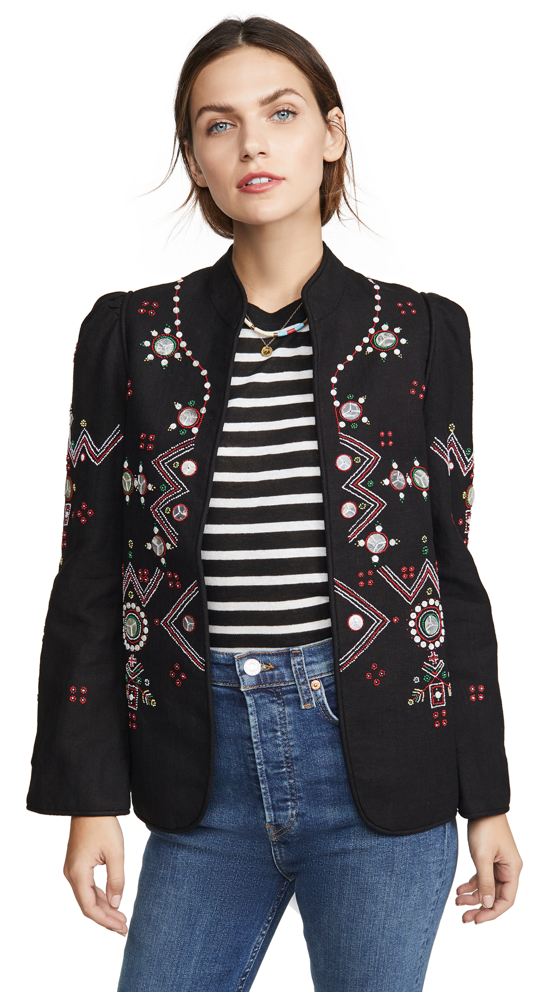 Alix of Bohemia Anja Black Jacket Folk Embroidery - Black