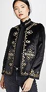 Alix of Bohemia Penelope Black Velvet Jacket with Gold Zardosi Embroidery