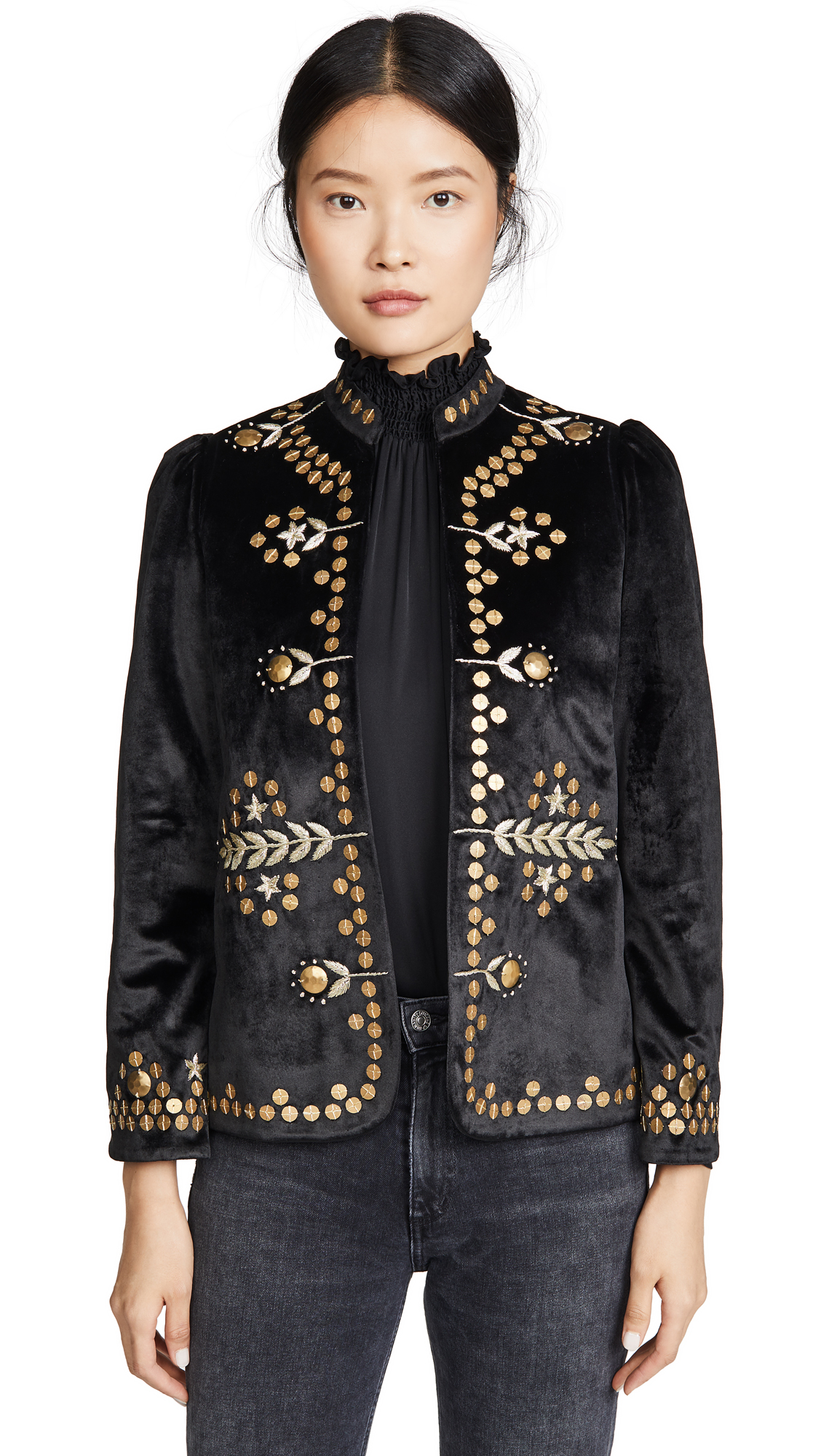 Alix of Bohemia Penelope Black Velvet Jacket with Gold Zardosi Embroidery - Black/Gold