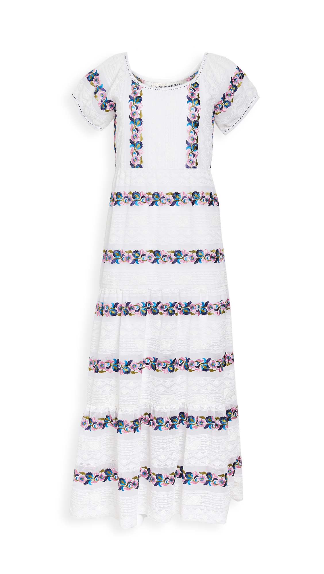 Alix Of Bohemia Lucy Embroidery Dress In White/multi