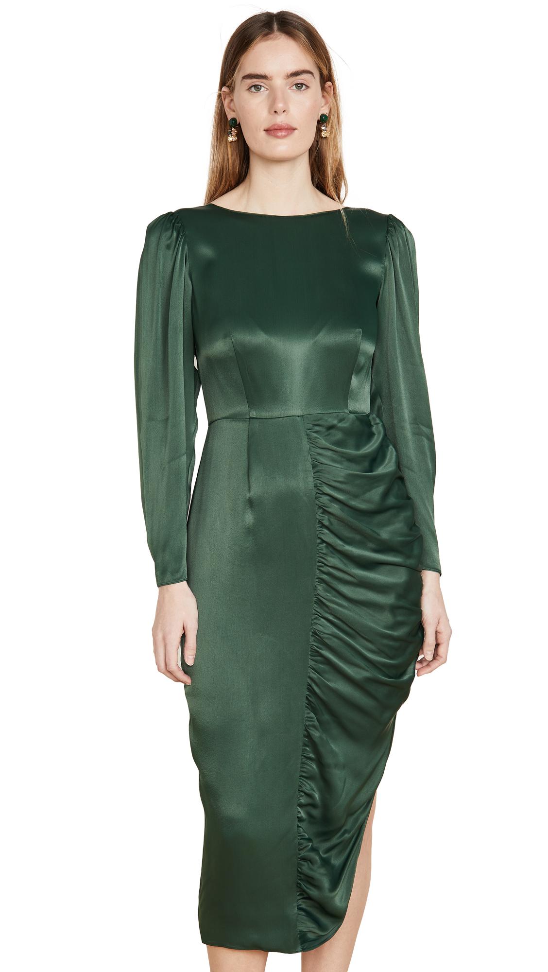 ALEXACHUNG Gathered Dress Crepe Satin - 60% Off Sale