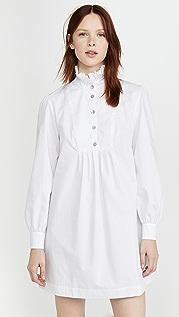 ALEXACHUNG Платье-рубашка с рисунком «елочка» и оборками
