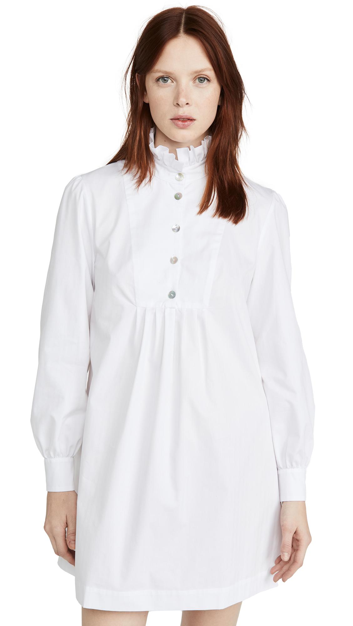 ALEXACHUNG Herringbone Shirt Dress with Frill - 50% Off Sale
