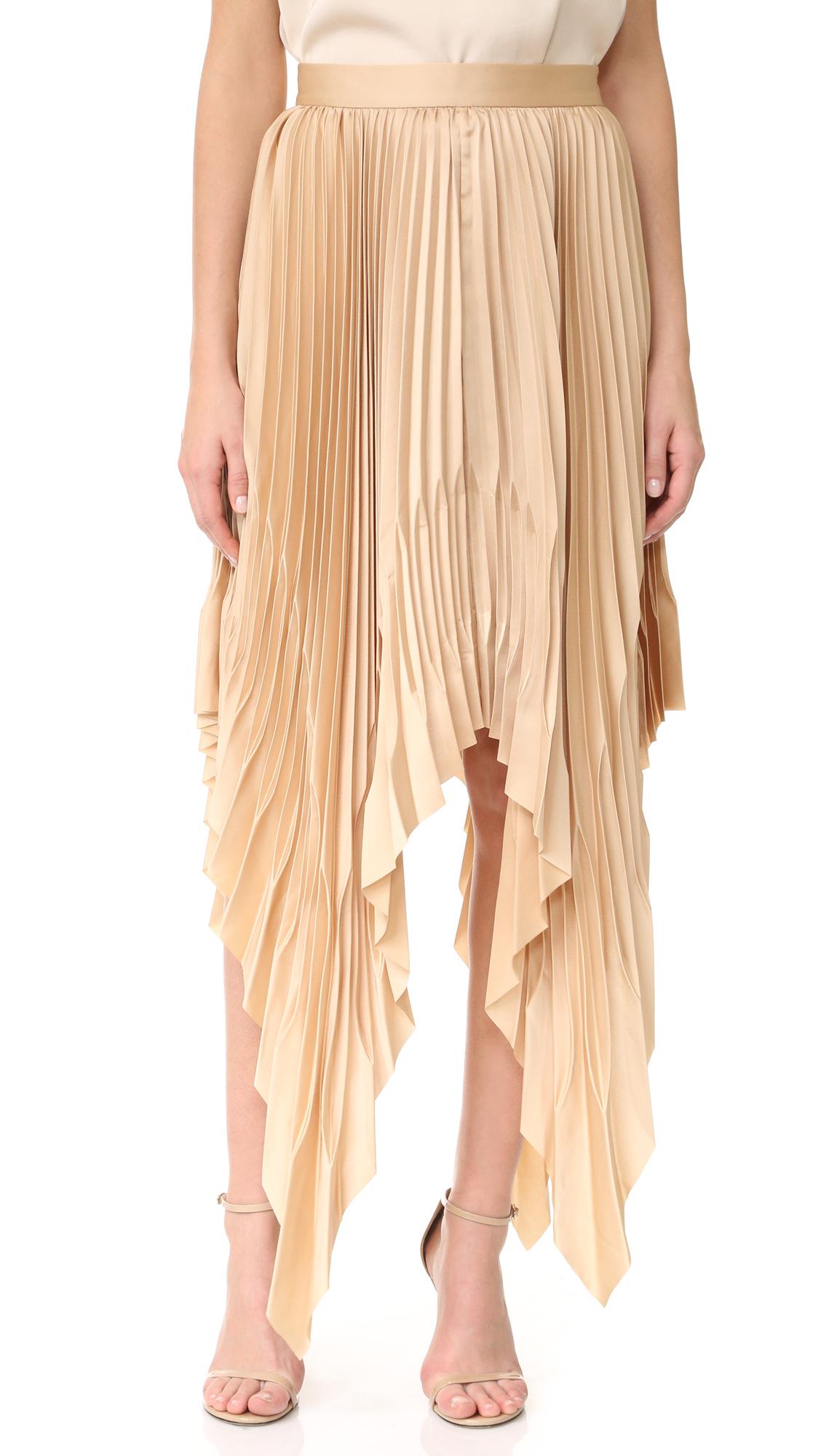 Acler Cedar Pleat Skirt - Almond at Shopbop