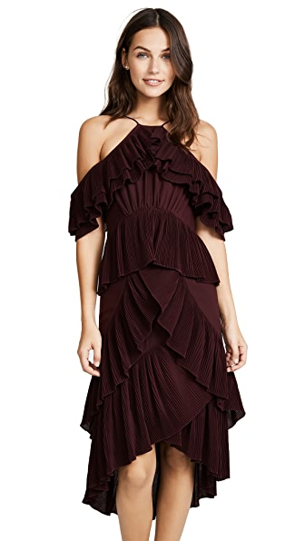 Acler Keppel Pleat Dress In Wine