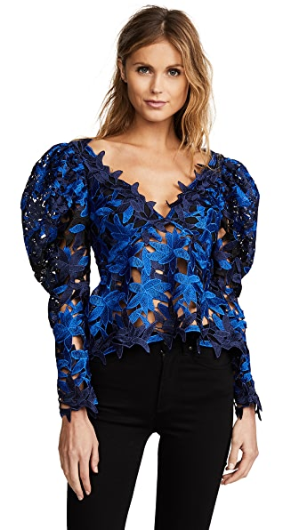 Acler Davis Lace Top In Ultramarine