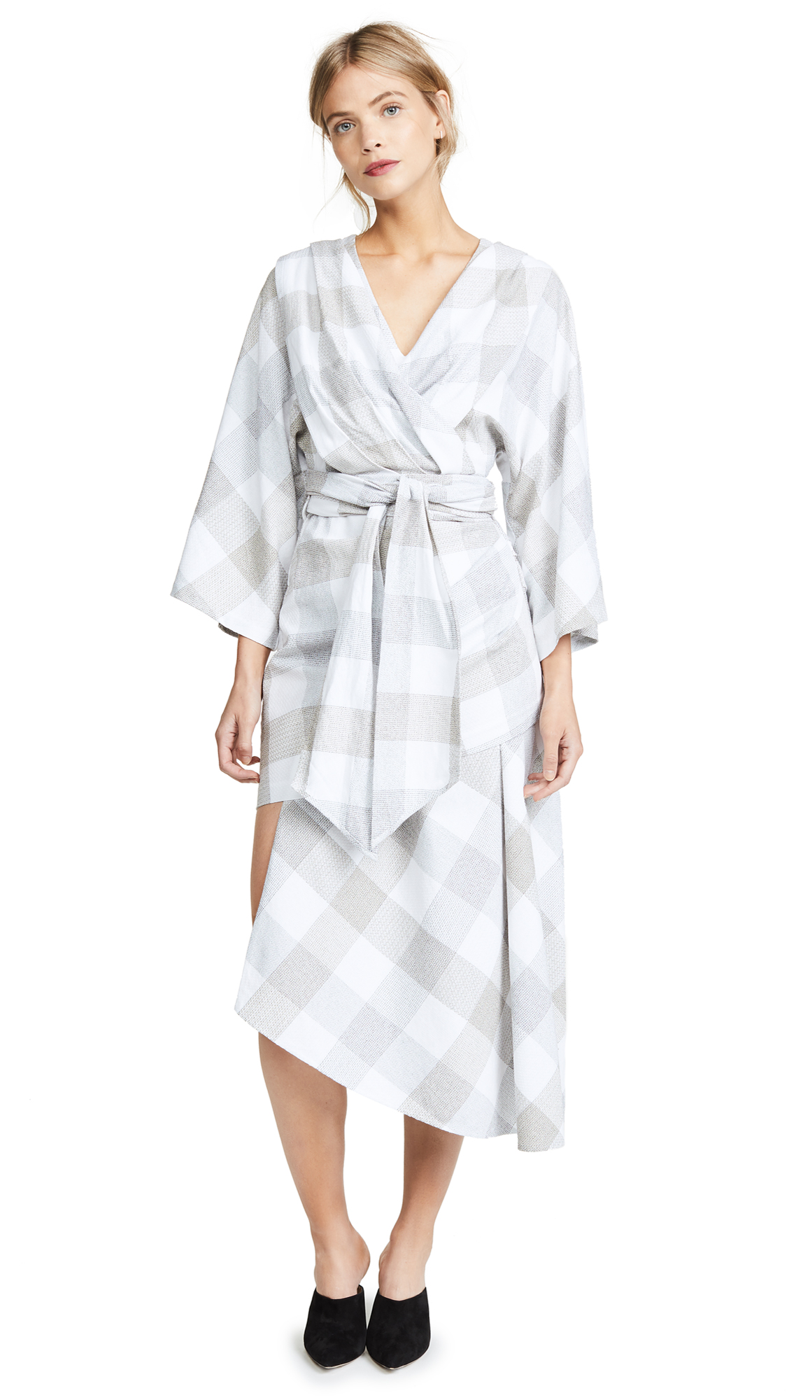 ACLER Check Asymmetric Dress, Patchwork