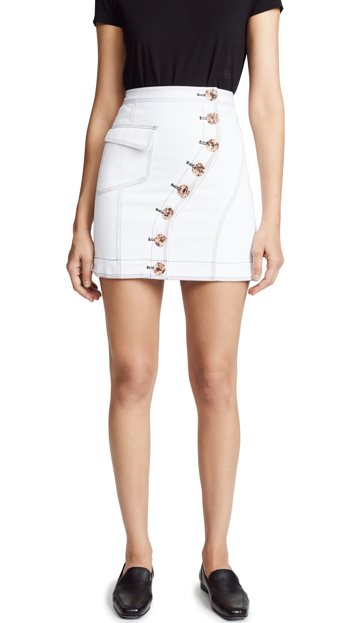 Acler Golding Denim Skirt In White