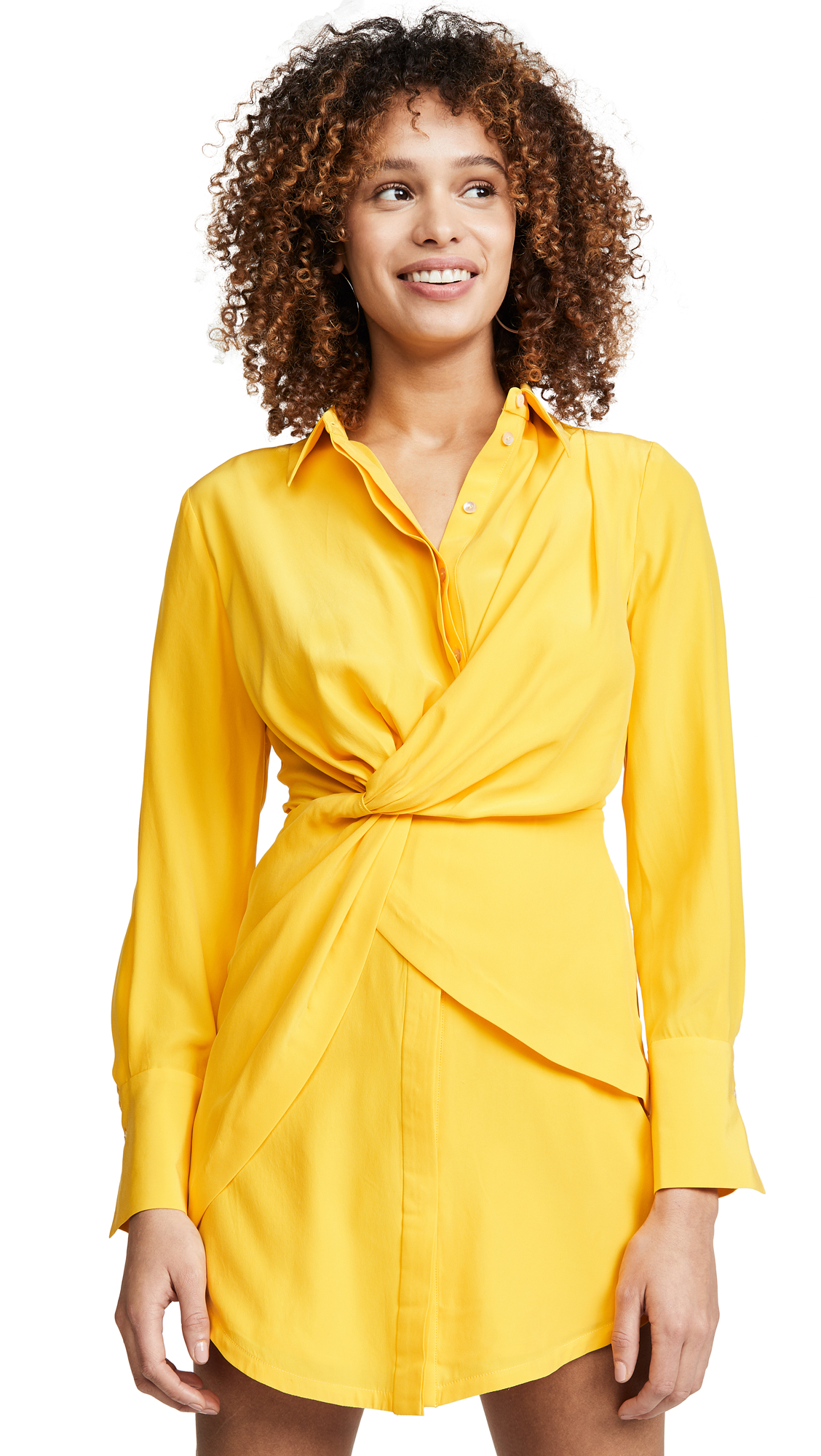Acler Alma Silk Shirtdress - Marigold