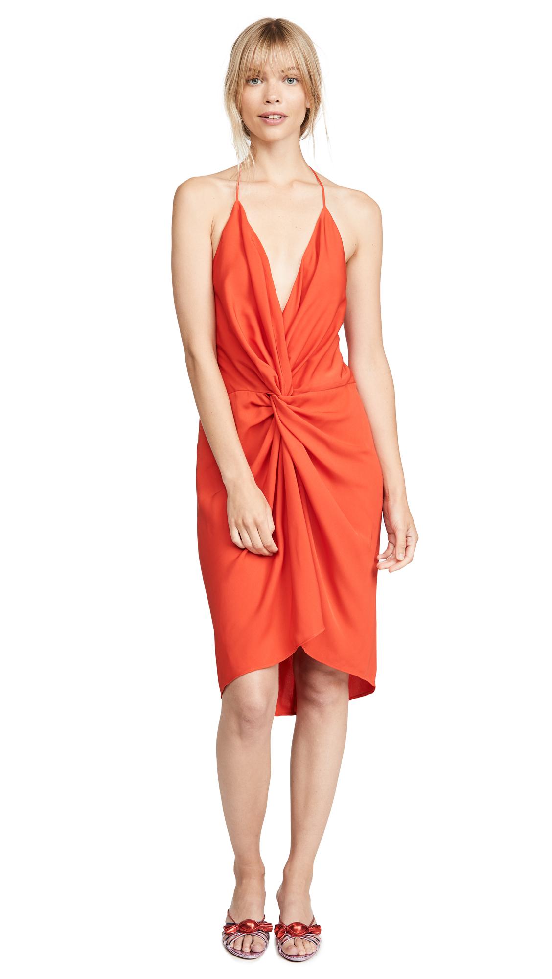 Acler Jenkins Twist Dress - Tangerine Red