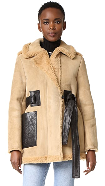 Acne Studios Fayette Suede Shearling Coat - Beige at Shopbop