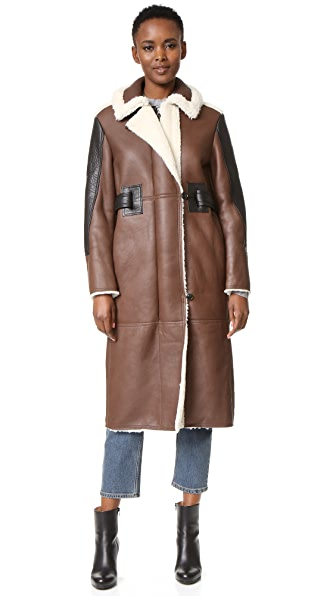 Acne Studios Fergus Shearling Coat - Dark Brown at Shopbop