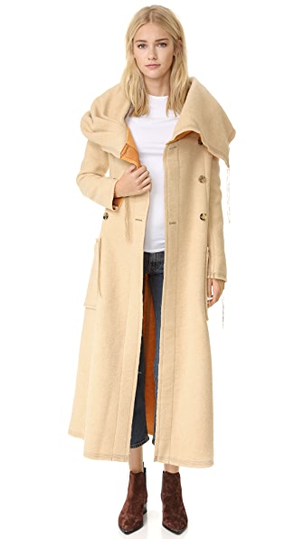 Acne Studios Auden Blanket Coat - Beige/Yellow